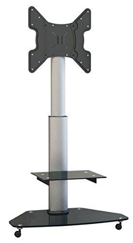 LCD LED TV STÄNDER GLAS STANDFUSS Schwenkbar Drehbar mit Rollen Höhenverstellbar Fernsehstand Stand Flachbildschirm Möbel Rack VESA 400x400 Universal inkl. DVD Receiver Glas Regal Ablage HALTERUNGSPROFI FS02G