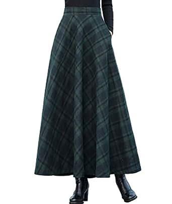 02f1fb6a5f Femirah Women's Long Maxi Woolen A Line Skirt Autumn Winter Plaid Skirt  (Waist: 60cm