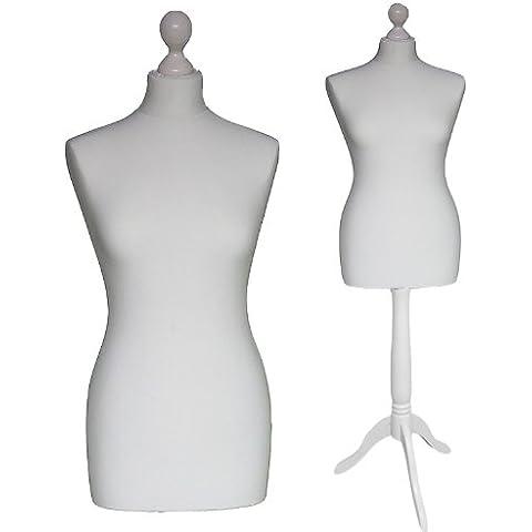LUK-MAL Maniqui Busto de señora de la talla 46/48 (Size XXL), Funda en color blanco-crema, Base base madera trípode en color