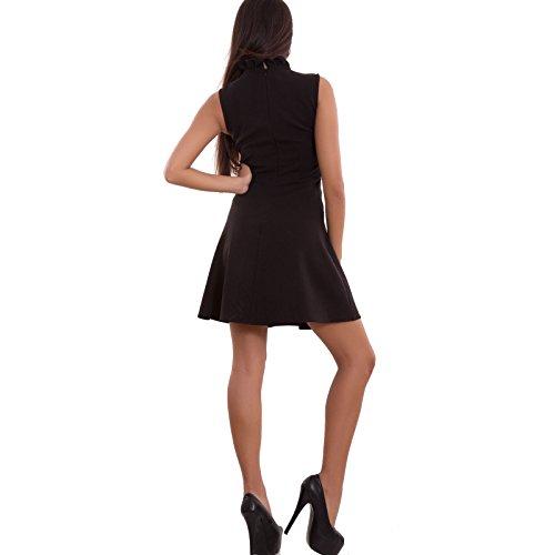 Vestito donna miniabito nero pizzo svasato skater sexy 50s sera nuovo CR-1840 Nero