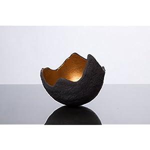Lichtschale gold - S (15cm) - Beton schwarz - grau   Unikat handmade   Geburtstagsgeschenk   Gartendeko  Muttertagsgeschenk   Geschenkidee   Geschenk für die Frau  Hochzeitsgeschenk