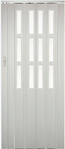 Falttür Schiebetür weiss gewischt farben mit Schloß - Schlüssel Verschließbar und Fenster Höhe 203 cm Einbaubreite bis 101 cm Doppelwandprofil Neu