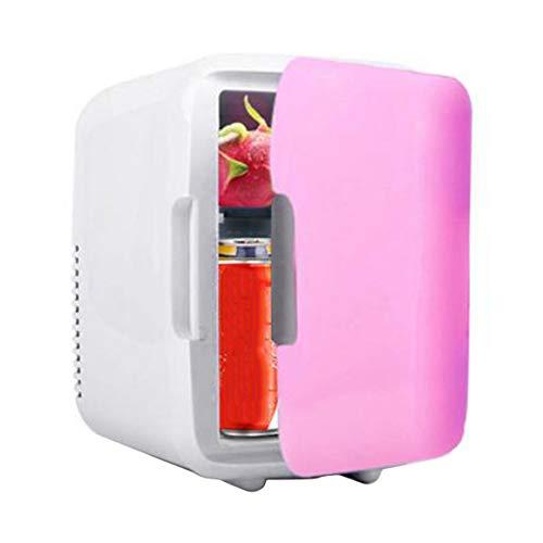 Funnyrunstore Portable Car Freezer 4L Mini Réfrigérateur Réfrigérateur Car Home Double Usage Car Fridge 12V Radiateur De Chauffage Pièces De Véhicules Universelles (Rose)