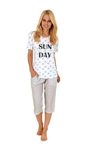 Damen Pyjama mit Rundhals, Kurzarm, Allover, Uni Capri-Hose, Weiß/Grau, 59030, Gr. S 36/38 (Capri-pyjama-hose)