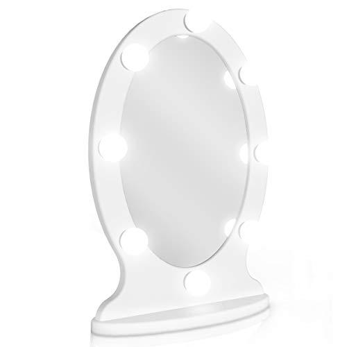 Star Vision Ovaler BeleuchteterKosmetik Frisiertisch-Spiegel HollywoodKosmetikspiegelSchminkspiegelmitLEDBeleuchtung-Makeup-Beauty-Station mit Spiegel für Einstellbare Beleuchtung, Weiß