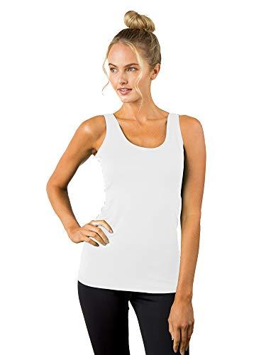 A'NUE LIGNE A'nue Miami Damen Tank Top mit Rundhalsausschnitt - Weiß - Klein (Yoga Anue)