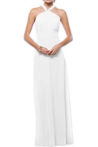 Gorgeous Bride Beliebt Neckholder Empire Chiffon Lang Cocktailkleid Partykleid Festkleid Weiß