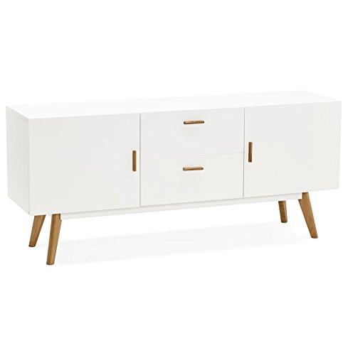 Alterego–Credenza madia Design 'Diego' in legno bianco stile scandinavo