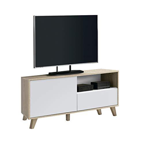 hogar24 Meuble TV, Salon Design Vintage, Porte et étagères, Bois Massif et DM laqué, Couleur chêne Cambrian. Dimensions ; 110 cm x 52 cm x 38 cm