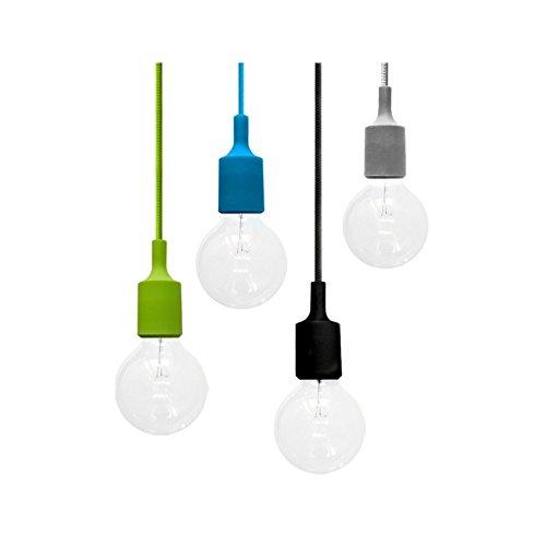 Flushmount design grau Silikon und Sockel E27 + geflochtene Kabel Grau -