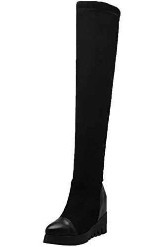 Botas Altas Mujer Elasticas Plataforma Aumento Cuña Negro Otoño Invierno sobre la Rodilla Botas De...