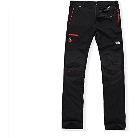 YYH Tramo de pantalones deportivos y de ocio al aire libre y de secado rápido estiramiento de los pantalones Pantalones hombres negro , m