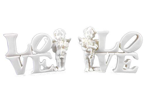 2er Sets Cherubs in Love je 9 cm Engel Putte Liebe Figur Deko GPU CHE62 - Polystone Cherub
