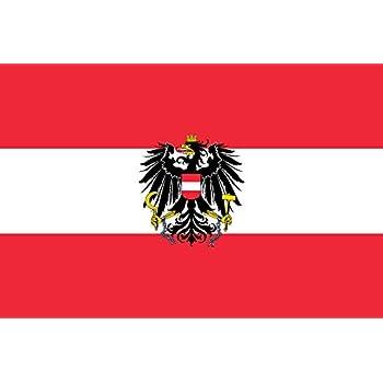 Flaggenking Österreich Flagge/Fahne mit Wappen, weiß, 150