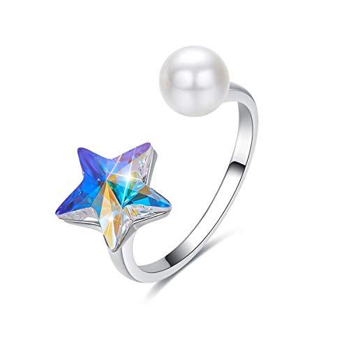 """CRYSLOVE Ringe für Damen Kristall Stern Ring Jewelry Einstellbare Erweiterbare Offene Fingerring Ring Geburtstagsgeschenke für Frauen Mädchen """"MEHRWEG"""""""