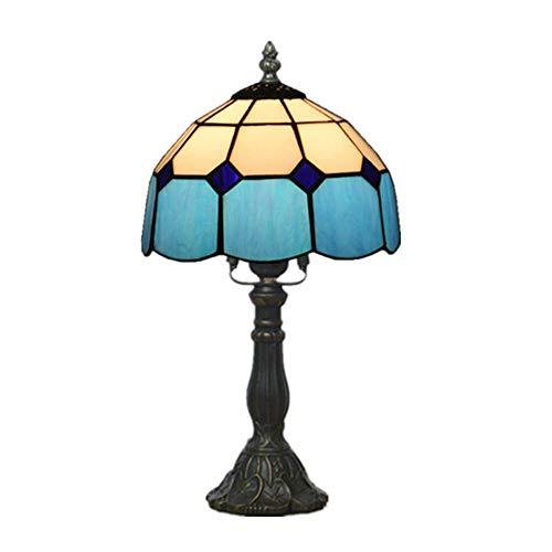8 Zoll Tiffany Stil Schreibtischlampe Mediterranean Retro Art Deco Tischlampen Indoors Kreative Dekoriert Lampe Buntglas Lampenschirm Harz Basis Nachttischlampe EuropäIschen Kirche Glasschirm (Blau)