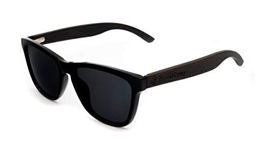 WoodEyez - DIE Holz-Sonnenbrille - unisex (besonders für schmalere Gesichter geeignet) - UV 400 Cat 3 - Polfilter - Holzbügel - hochwertige Federscharniere - Echtholz (Schwarz (dunkles Holz))