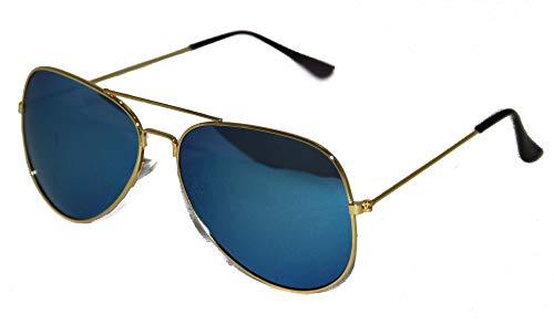 Foxxeo verspiegelte Pilotenbrille für Karneval Party Brille Pilot türkis Sonnenbrille