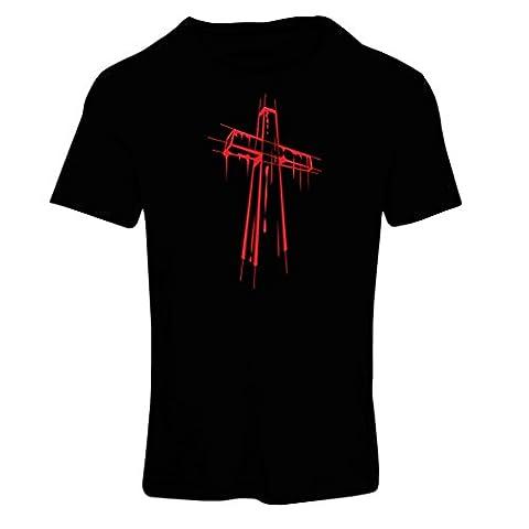 Frauen T-Shirt Beunruhigtes Kreuz - Eeligiöse Geschenke, Christliches Kleid (Medium