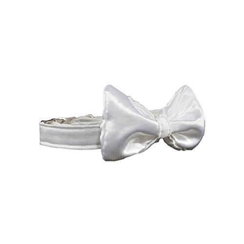 Hundehalsband aus Satin mit Hundefliege Hochzeit, Fliege für Hunde - Halsschleife - PREMIUM (mit Metallverschluss) (M, Weiß)