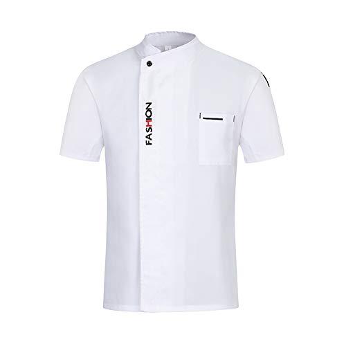 e Restaurant Uniformen Shirts Kurzarm Arbeitskleidung Männer Frauen Hotel Bäckerei Kochen Sushi Kostüm,White,XL ()