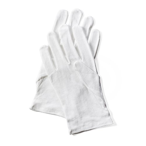 1 pair of cotton gloves - white, M, Papstar 86532.