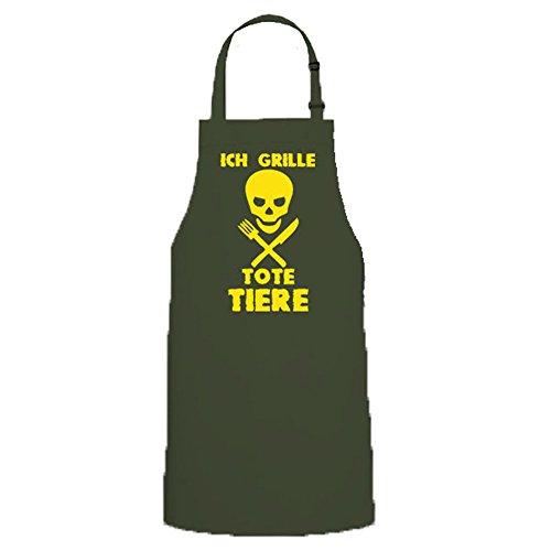 Ich Grille Tote Animales Calavera Calavera barbacoas BBQ Hombres Delantal Fuego Carne Carne Party Humor FUN Diversión–Delantal/Delantal # 12757 verde oliva Talla única