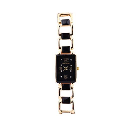 COOKDATE Damen-Uhr mit Strass-Steinen und Milanaise Mesh-Armband High-End Qualität Mode Retro Design Sehen Frau Sehen Trend Quarz A - Damen-uhr Büro Für