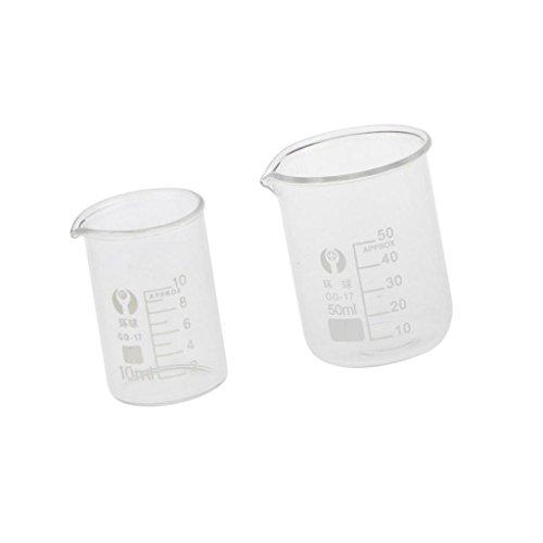 Baoblaze Niedrige Form Glas Messbecher Labor Glas Set - klar, 10ml 50ml