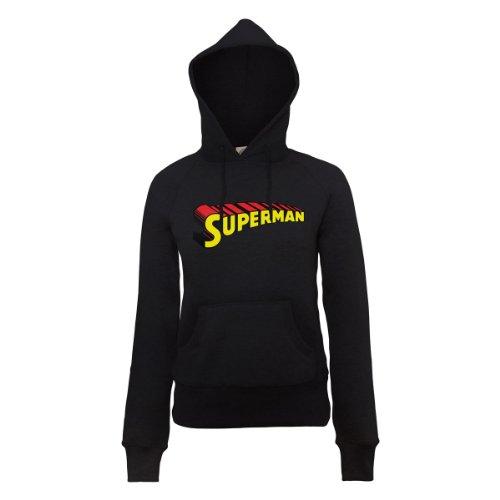 DC Universe Damen Kapuzenpullover Dc Comics Official Superman Telescopic Logo Womens Hooded Sweatshirt Schwarz - Schwarz