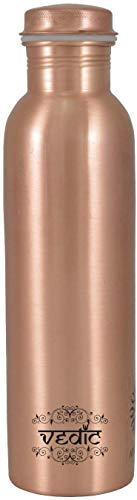VEDIC COPURE Leak Proof Lacquer Coated Printed Copper Water Bottle for Travelling Purpose, Yoga Ayurveda Healing Health Benefits (1 L, Green)