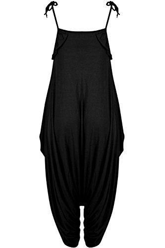 Oops Outlet Damen Rüsche Cami Riemchen Lagenlook Italian drapiert Baggy Harem Overall - Schwarz, Plus Size (UK 24/26) (Drape Cami)