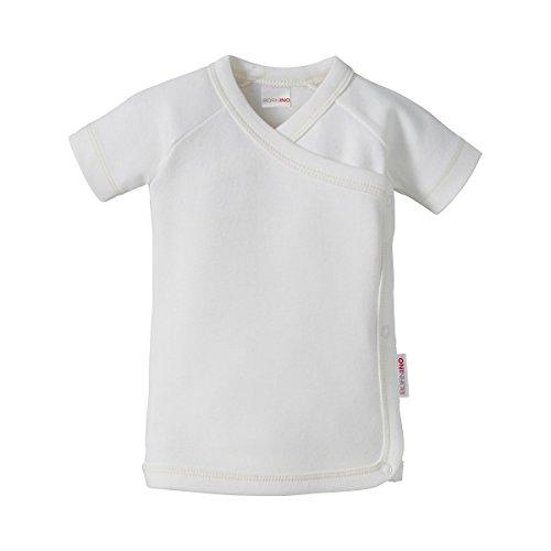 Bornino Bornino Wickelshirt für Mädchen und Junge/Kurzarm Flügelhemd/GOTS Zertifiziert, weiß