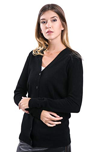 cashmere 4 U 100% Reinem Kaschmir Strickjacke Pullover Cardigan V-Ausschnitt für Damen - 100% Mongolische Cashmere