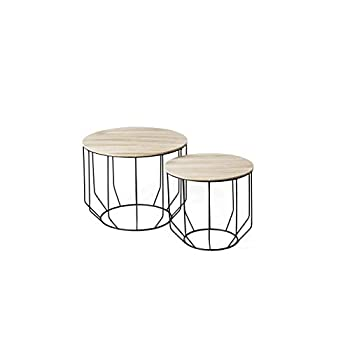 LIFA LIVING Set of 2 Wire Side Tables with Storage Basket, Removable Top Tray, Wooden & Black Metal Nests of Tables, Coffee End Tables for Living Room, Kitchen, Bedroom