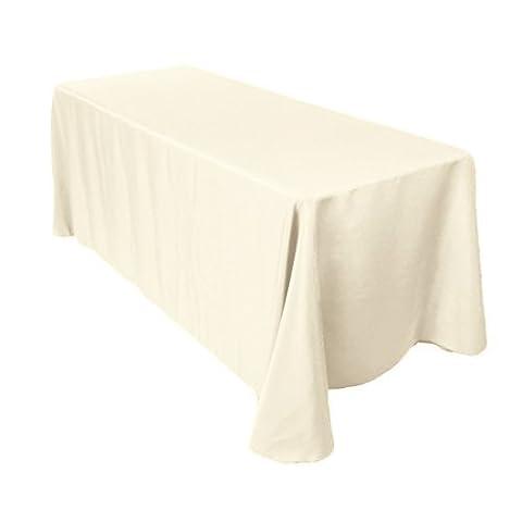 rectangulaire coton Nappe Polyester Coque pour mariage, salle à manger et fête d'anniversaire 228,6x 396,2cm par Mariage d'alimentation, Tissu, Lot de 5, Ivory