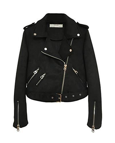 Faux Wildleder Jacke Damen Übergangsjacke Winterjacke Revers Reißverschluss Einfarbig Oberbekleidung Mit Gürtel Schwarz XS - Reißverschluss Gürtel