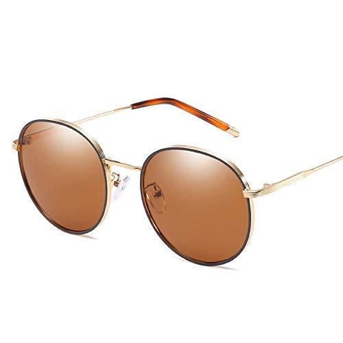 Metall Round Frame Womens Sonnenbrille Retro Polarized Fashion Classic UV-Schutz Driving Glasses Brille (Color : Braun, Size : Kostenlos)