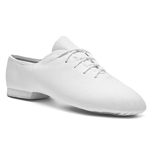 Rumpf Jazzschuhe Basic II 1270 für Gymnastik Jazz Tanz, Leder mit geteilter Chromledersohle Farbe weiß, Größe 36,5 - 37