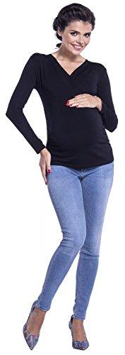 Zeta Ville - Top empire de grossesse cache-coeur manches longues - femme - 310c Noir