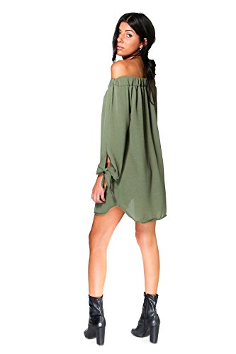 Kaki Femme Valerie Tie Sleeve Off Shoulder Shift Dress Kaki