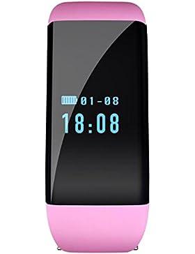 Frauensport digital rosa erinnert mit Fitness-Tracker Smartwatch Herzfrequenz Pedometer-Monitor zu Fuß mit Anruf...