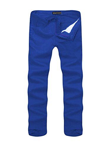 sourcingmap Hommes Taille Moyenne Braguette Zip Jambe Droite Pantalon Décontracté Bleu Roi