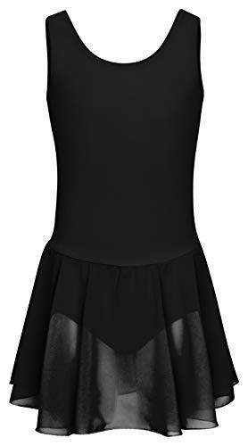 Kostüm Mit Rock Schwarz - tanzmuster Kinder Ballettkleid Bella aus Baumwolle, breite Träger, Chiffon Rock und besonderer Rückenausschnitt in schwarz, Größe:164/170