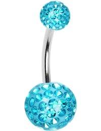 Piercing Nombril Boule CristalBleu Turquoise Recouverte de Resine + Boule du Dessus - Barre 10mm (Standard)