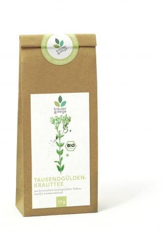 kräuter & wege ® | Bio Tausendgüldenkraut Tausendgülden Bitterkraut Tee 17g | Getrocknete Premium Qualität | Abgefüllt in Deutschland