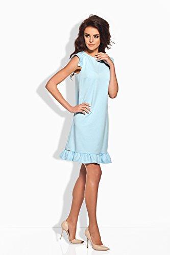 Lemoniade extravagantes Kleid mit ausgefallenen, kurzen Ärmeln und romantischen Rüschen-Saum Hellblau