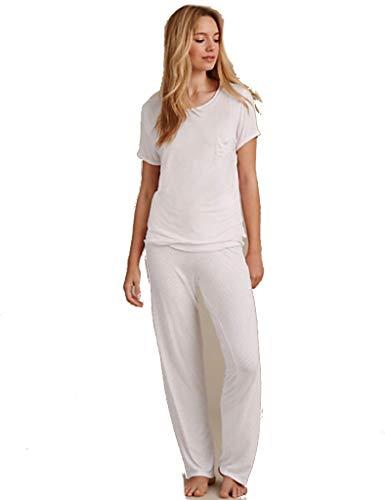 Marks & Spencer M&S Damen Pyjama-Set, kurzärmelig, gepunktet, Loungewear Gr. 38, Rose