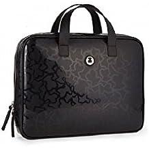 Maletín Tous modelo Kaos Shiny en color negro 29x38x3 cm