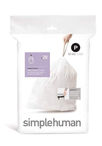 Simplehuman CW0175 60L Color Blanco Bolsa Basura -